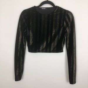 Misguided velour black gold stripe crop top size 2